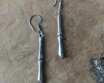 SALE - Vintage Bamboo Earrings - Silver Metal - Linear Drop