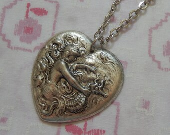 Mermaid and Seahorse Heart Antique Silver Heart Pendent Necklace