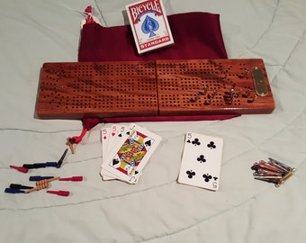 Cherry Folding Cribbage Game Board