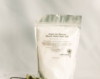 Muscle Relief Bath Salt with Dead Sea Salt and therapeutic grade essential oils.