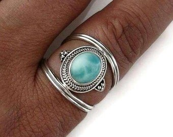 Larimar Nepali Style Silver Ring, Larimar Silver Ring, Caribbean Stone, Gemstone Jewellery, Boho Ring, Boho Jewellery, Mistry Gems, R29L