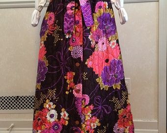 Vintage 70's quilted bohemian maxi skirt, satiny soft w/attached sash front tie