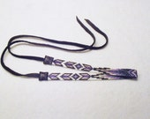 Native American Style Silver and Purple Beaded Necklace, Violet, Black, Silver Choker, Black Deerhide Laces, Loom Beaded, Purple Arrows
