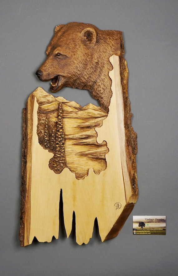 Bear carved on wood carving with bark hand made gift wall