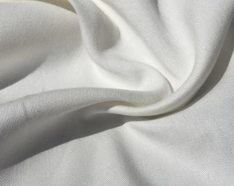 "60"" Off White 100% Tencel Gabardine Twill Opaque and Drapey Light Medium Weight Woven Fabric By the Yard"