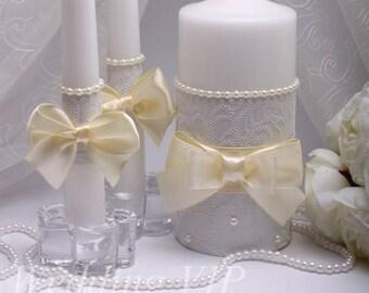 Unity candles White wedding Unity candle ceremony Ivory wedding Personalized unity candles Unity wedding candles