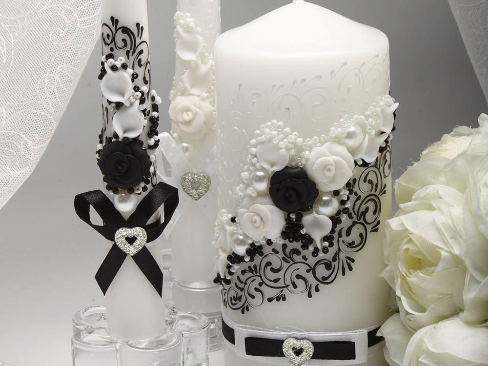 Black And White Wedding Unity Candles Set Wedding Ceremony