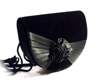 Vintage Velvet Handbag Black Evening Bag Accessories VH-120
