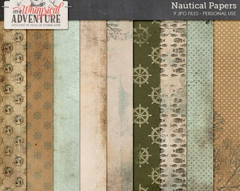 Nautical paperpack, patterns, textures, backgrounds, distressed, grungy, ocean, sea life, fish, marine, aqua, green, beige, beach, paperpack