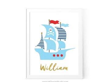 Custom Name Print, Pirate Nautical Ship, Nautical Nursery Print, Name Print, Nursery Wall Art, Pirate Boat Print, Baby Room Decor, D82-12