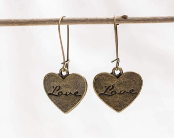 Long earrings with love in the heart