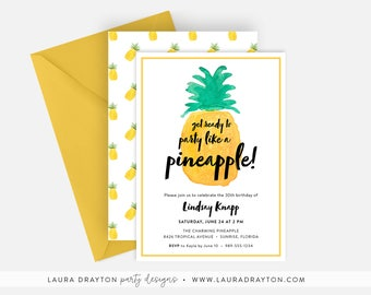 """Party Like a Pineapple Birthday Party 5"""" x 7"""" Invitation - Digital or Printed"""