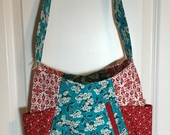 Red and Turquoise Floral 241 Tote Bag