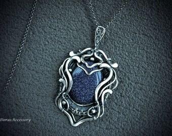 Aventurine sterling silver pendant WITHOUT CHAIN - Wire wrapped silver pendant  aventurine - Silver pendant - unique pendant - dark blue