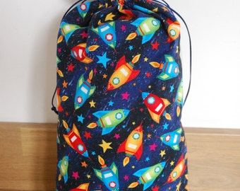 Rocket Drawstring Bag, Rocket Gift Bag, Rocket Drawstring Gift Bag, Birthday Bag, Birthday Gift Bag, Birrthday Gift Sack, Drawstring Bag