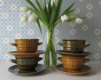 Four Vintage Green and Oker Soup Bowls with Saucers by Pruszkow Poland with Embossed Checkered Design 60s 17067