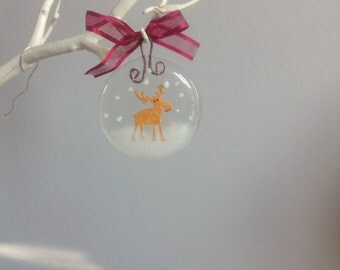 Fused Glass christmas ornament - fused glass christmas decoration - Reindeer  - Christmas tree decoration - Christmas tree ornament