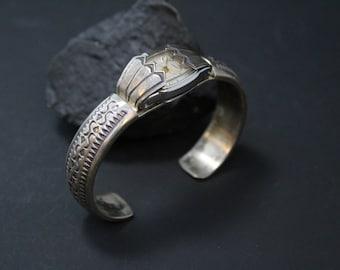 Sterling Silver Signed W. TAHE Native American Navajo Watch Cuff Bracelet