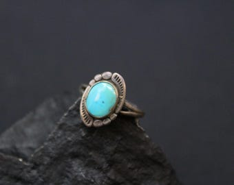 Navajo Turquoise Ring, Native American Turquoise Jewelry, Turquoise Pinky Ring, Sterling Silver Turquoise Ring, Southwestern Jewelry