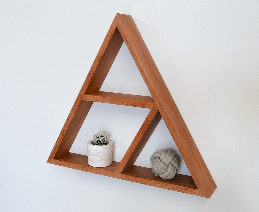 Triangle wooden shelf geometric shelf maple - Triangular bookshelf ...