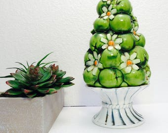 Green Apple Topiary 70's Centerpiece Daisy and Green Apples on Pedestal