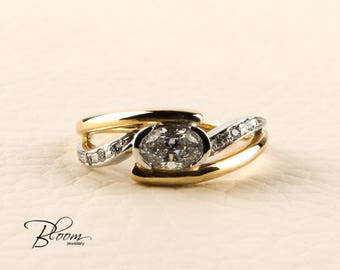 Unique Gold Ring 14K Solid Gold Cubic Zirconia Ring Oval Stone Ring Yellow Gold Ring 14K Gold CZ Ring BloomDiamonds