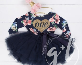 First Birthday floral outfit dress with heart and navy blue tutu for girls or toddlers, Floral dress, custom dress, long sleeve