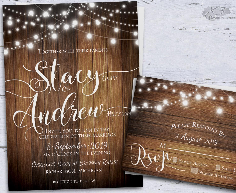Wedding And Reception Invitations: Rustic Wedding Invitation Country DIY Printable Wedding