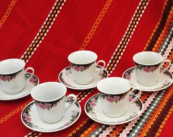 Vintage Espresso Set Coffee Set 5 Cups With 5 Saucers Coffee Porcelain