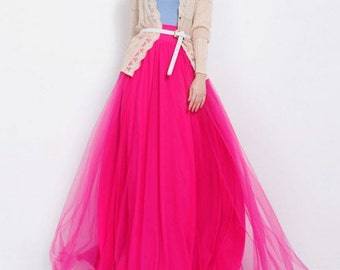 Long Tulle Skirt in 60 Different Colours