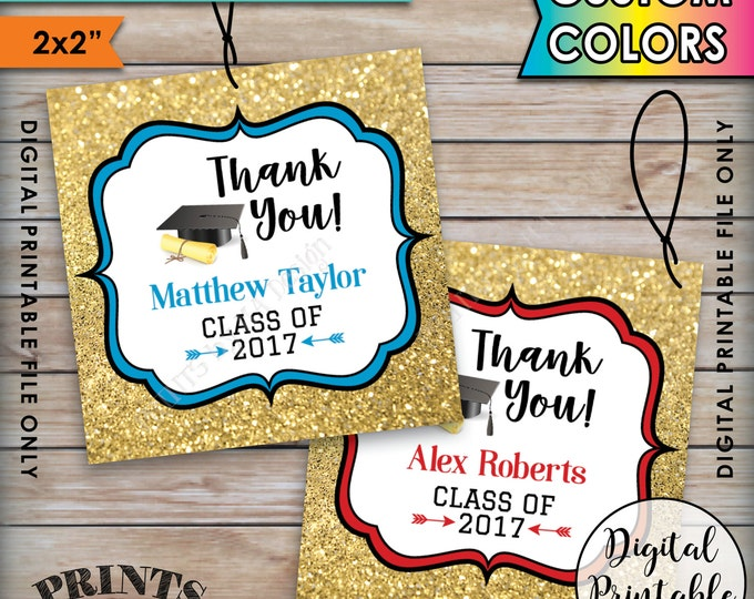 """Graduation Thank You Tags, Custom Grad Tags Graduation Party Favors Gold Glitter Grad Party Favors, Printable 2x2"""" Tags on 8.5x11"""" Sheet"""