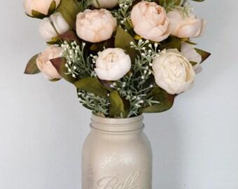 Peony Floral Arrangement | Painted Mason Jar Arrangement | Farmhouse Decor | Rustic Decor | Romantic Decor