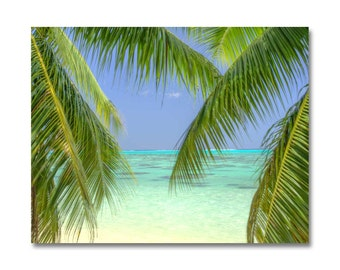 tropical images, palm tree photo, Moorea photo, beach photography,ocean canvas art, beach photo, beach decor, tropical decor, hawaiian art