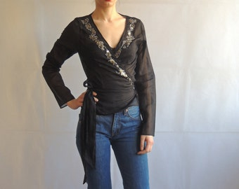 Vintage Boho Black Semi-Sheer Beaded Wrap Shirt