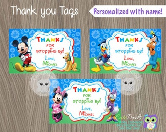 Mickey Mouse Thank You Tags, Mickey Mouse Favor Tags,  Mickey Mouse Birthday, Mickey Mouse Party, Mickey Mouse Tags, Thanks you Tags