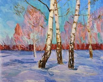 VINTAGE IMRESSIONIST ART Original Oil Painting by Soviet Ukrainian artist N.Peschansky 1970s Winter Forest Landscape, Birch trees, Sunny day