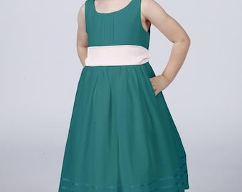 Matchimony Turquoise Flowergirl Dress with Complimentary Sash available in all Matchimony colours