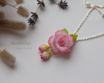 Necklace Rose Silver 925 Pink Rose Pendant Roses pendant