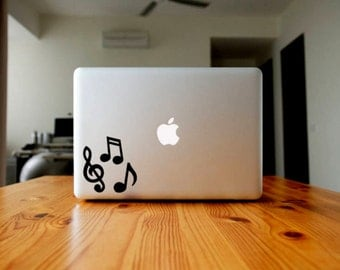 3 Music Notes Vinyl Decal, Music Lover Laptop Sticker, Treble Clef Custom Phone Sticker, Cup Decal, Quaver Car Decal, Water Bottle Decal
