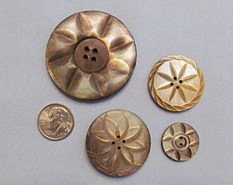 Four Unique Buttons, Carved MOP Mother-of-Pearl Shell, Large and Small