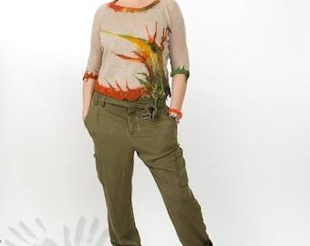 Linen blouse / Handmade Nuno felt blouse /  Merino wool / Unique item / Sweater / Ready to ship /  Free shipping.