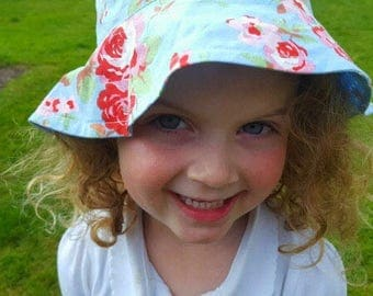 Handmade Girls Reversible Bucket Sun Hat 100% Cotton