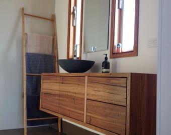 Custom-made recycled timber bathroom vanity
