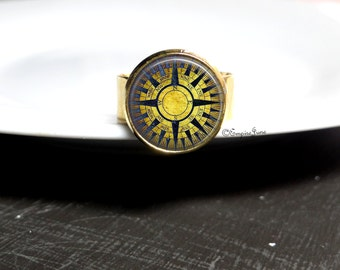 Gold Compass Ring Yellow and Blue Ring Ship Compass Ring Gold Jewelry Blue Yellow Compass Ring Gold Blue Ring Gold Jewelry Gift Compass Ring