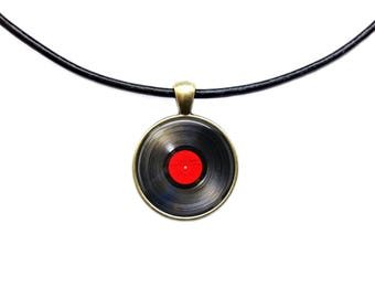 Vinyl Record pendant Music necklace Antique steampunk jewelry
