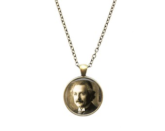 Albert Einstein necklace Antique Black and White Art pendant Vintage portrait jewelry