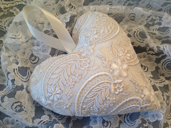 Ivory Lace Throw Pillow : Ivory Lace Heart Pillow Victorian handmade heart Boudoir