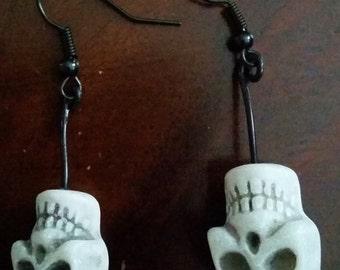 Upside Down Skull Earrings