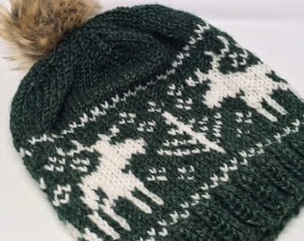 Moose Slouch Beanie // Moose Toque // Moose Knit Hat // Dark Green Beanie // Women's Beanie // Women's Green Slouch Hat // Adorable Beanie