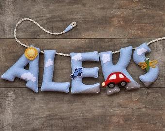 Felt name banner, nursery decor, personalized gift, felt letters baby gift, child room baby name garland, custom felt name, MADE TO ORDER